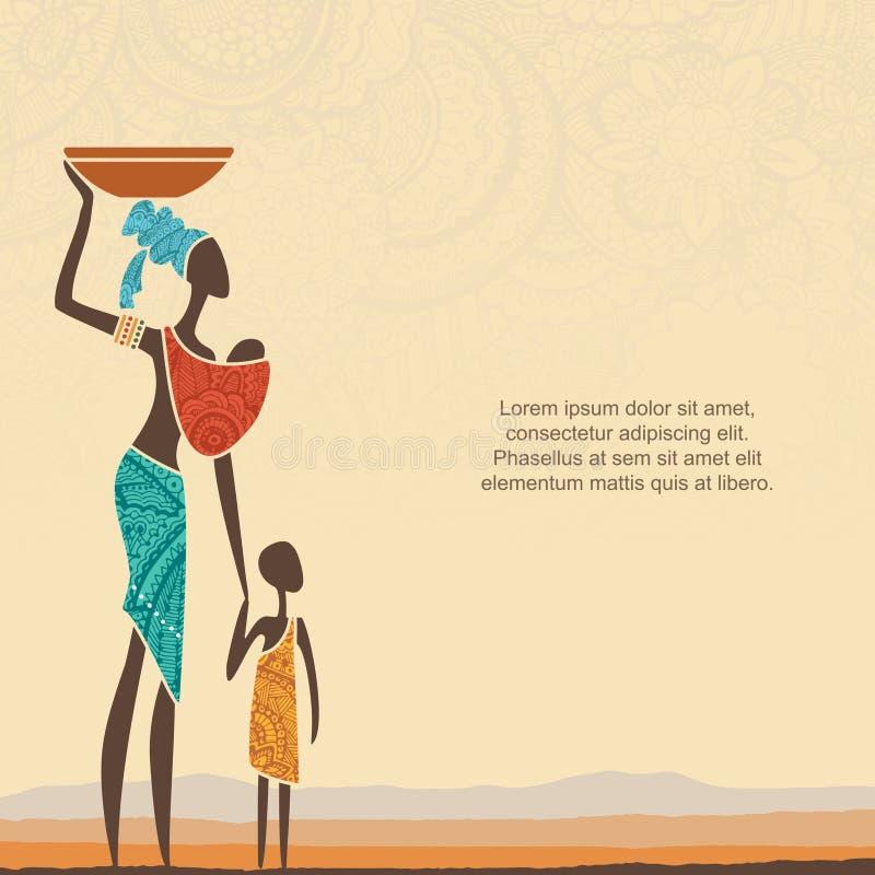 Etnische achtergrond met Afrikaanse vrouw met kinderen en gestileerd Afrikaans landschap vector illustratie