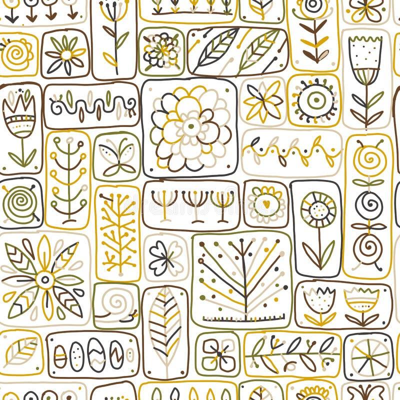 Etnische bloemenmuur, naadloos patroon voor uw ontwerp stock illustratie