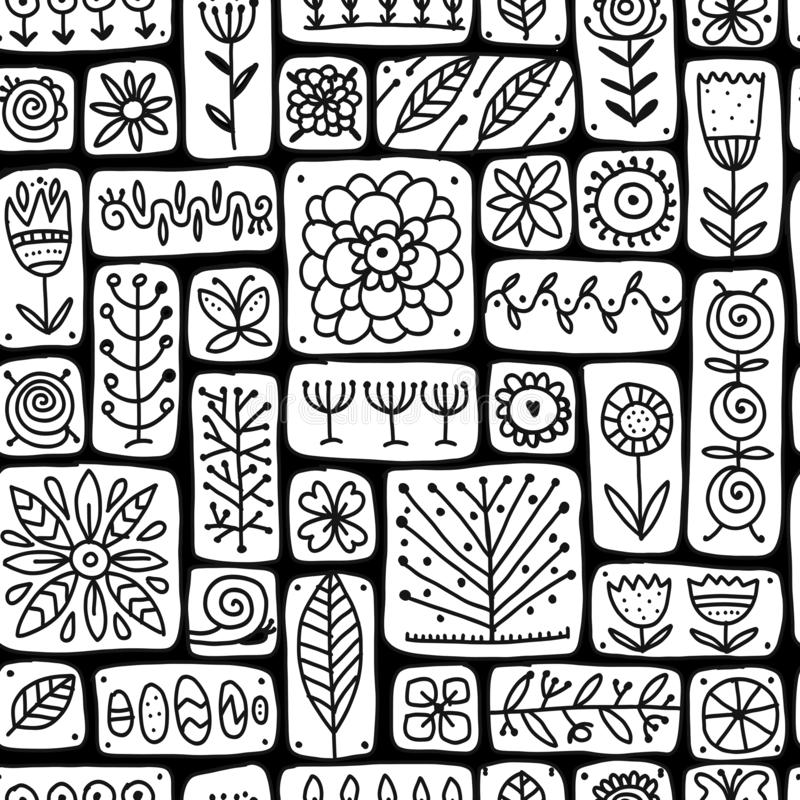 Etnische bloemenmuur, naadloos patroon voor uw ontwerp vector illustratie