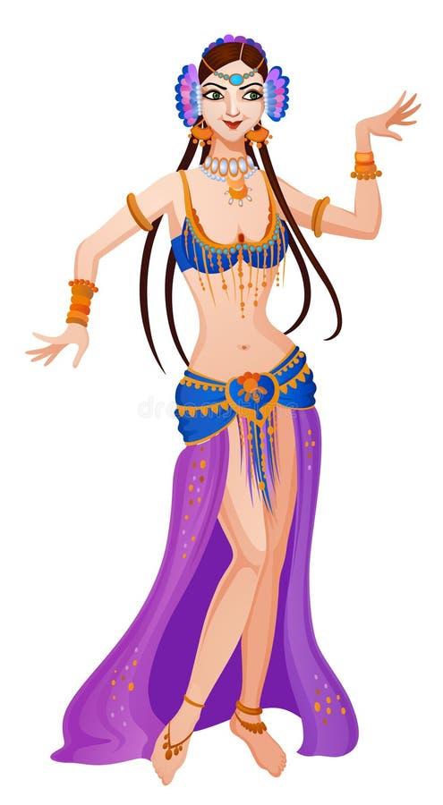 Etnische dans van beeldverhaal Aziatisch meisje vector illustratie