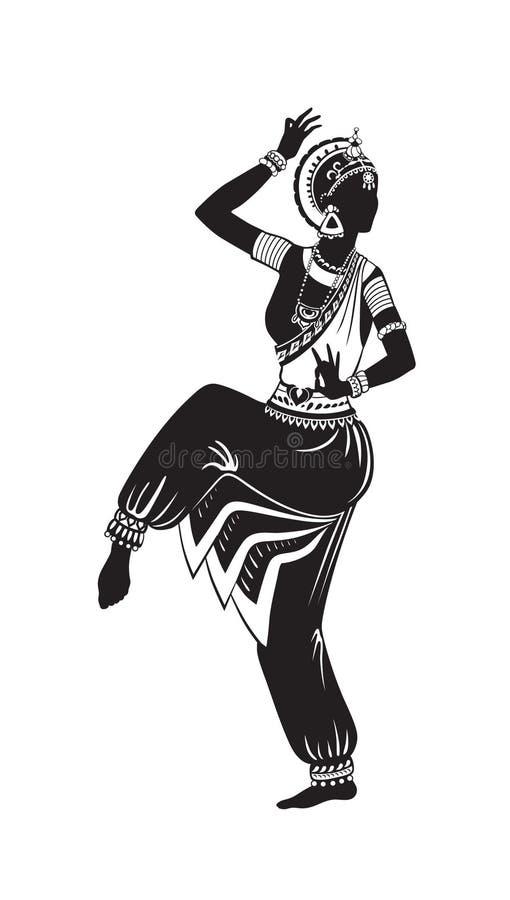 Etnische dans van Indisch meisje royalty-vrije illustratie