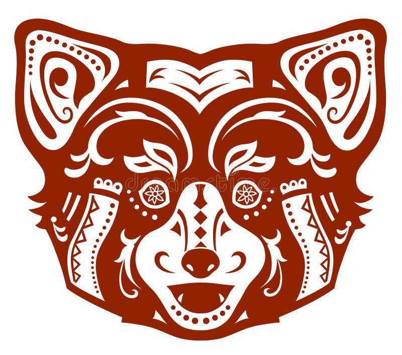 Etnische gesierde rode panda royalty-vrije illustratie