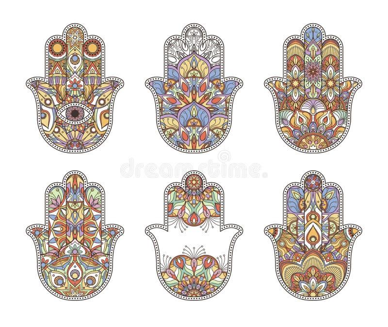 Etnische hand getrokken hamsahanden van Thailand Vector ornamenten royalty-vrije illustratie