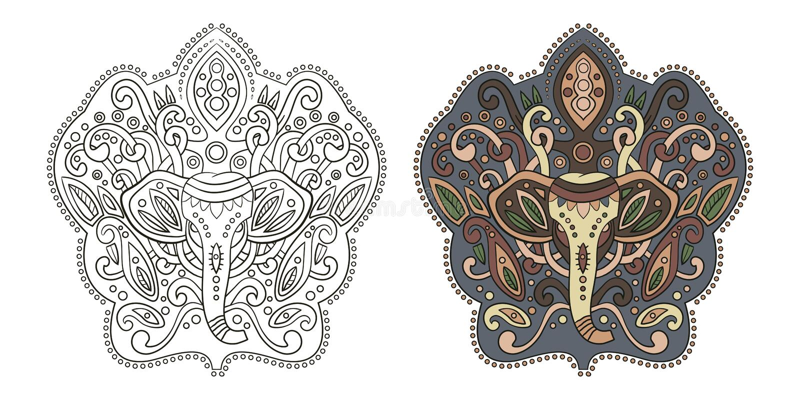 Etnische Indische olifant in grafische stijl Vectorillustratie voor vector illustratie