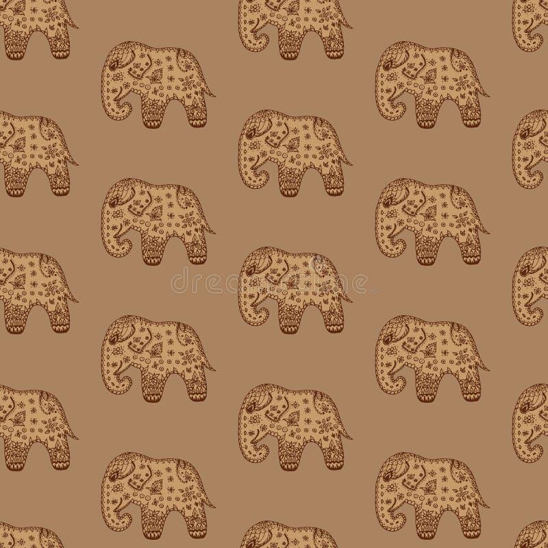 Etnische Indische overladen van naadloze patroon bruine olifanten vector illustratie