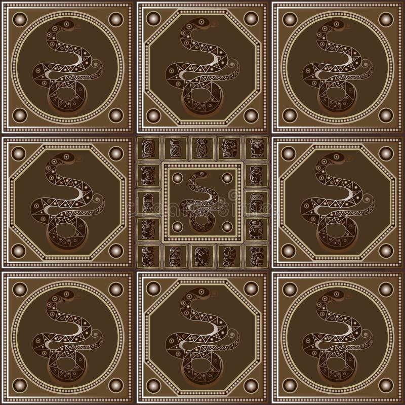 Etnische Maya textuur met een totem 32 vector illustratie