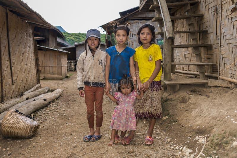 Etnische meisjes, Laos stock afbeeldingen