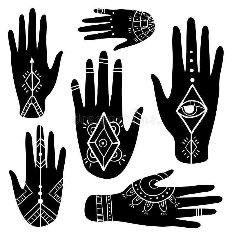 Etnische reeks met handen stock illustratie