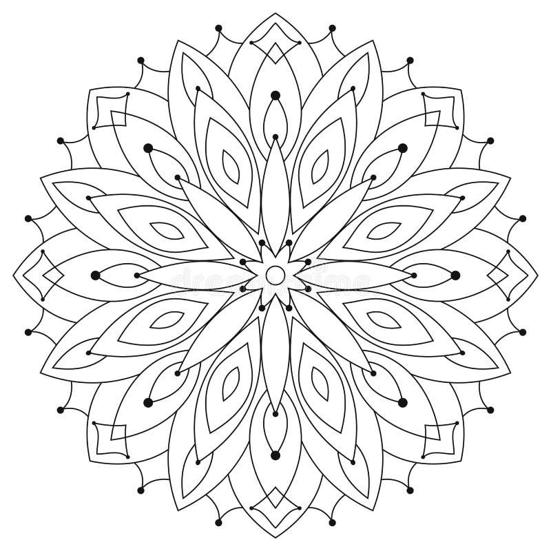 Etnische ronde mandala van het oosten Het kleuren voor volwassenen royalty-vrije illustratie