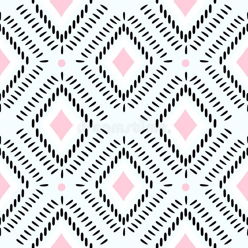 Etnische stammen naadloze patroon vectorillustratie, de stijl van mandala abstracte, oude strepen Azteekse Afrikaanse wijnoogst a vector illustratie