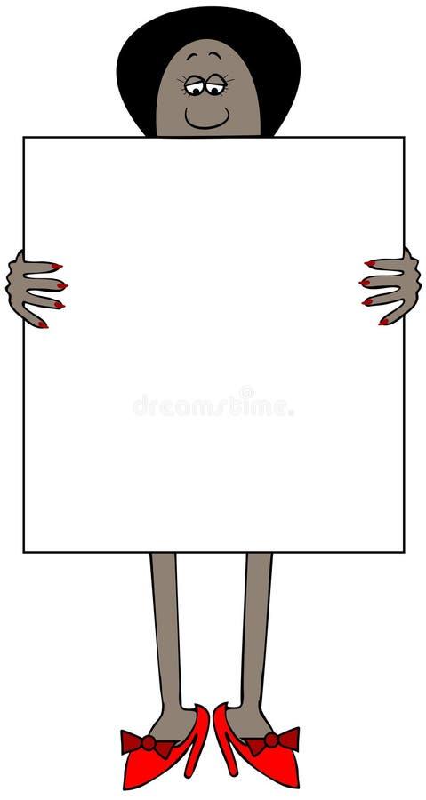 Etnische vrouw die een groot leeg teken houden royalty-vrije illustratie