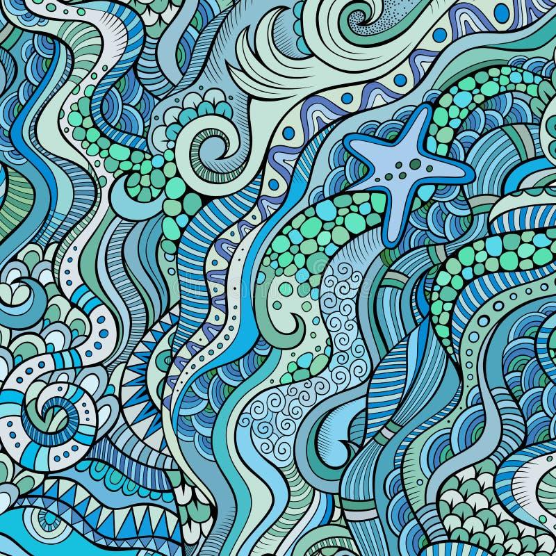 Etnisk bakgrund för dekorativ marin- sealife vektor illustrationer
