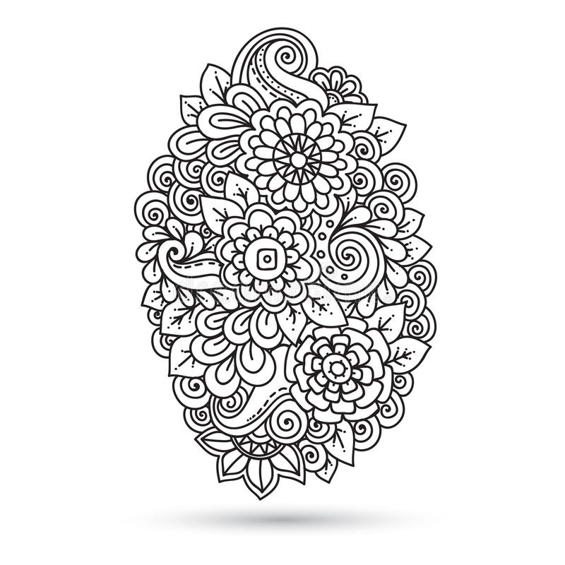 Etnisk blom- zentangle, svart, vit bakgrundsmodell royaltyfri illustrationer