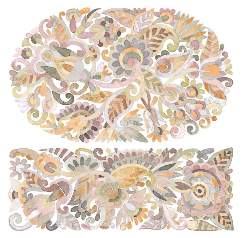 etnisk blommavattenfärg för design royaltyfri illustrationer