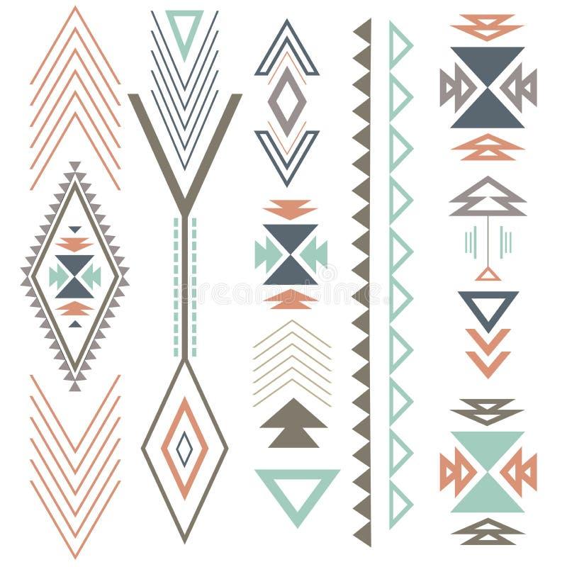 Etnisk bohosommarprydnad stock illustrationer