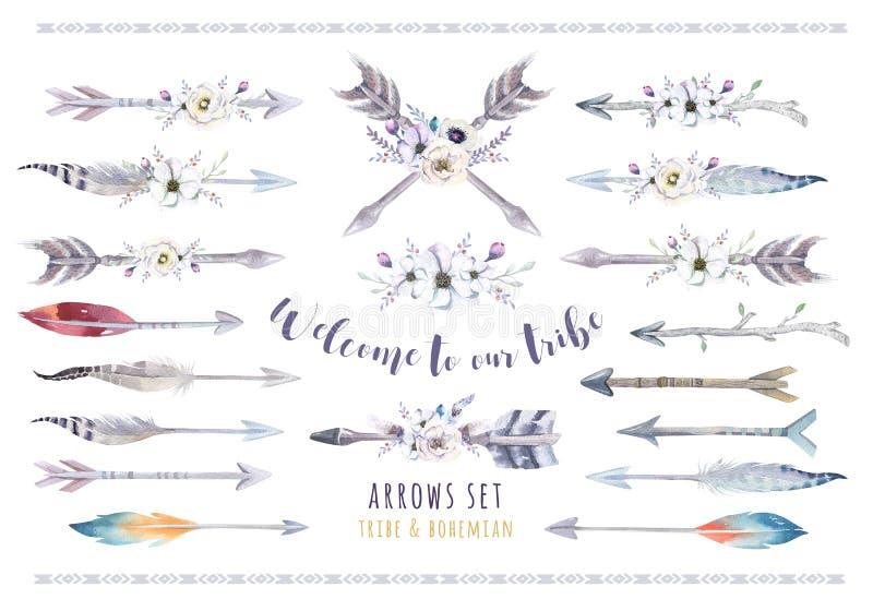 Etnisk bohouppsättning för vattenfärg av pilar, fjädern och blomman stam vektor illustrationer