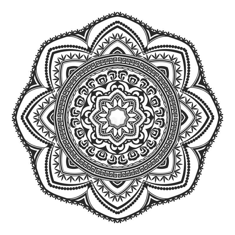 Etnisk dekorativ dragen mandala för beståndsdel som hand är svartvit, för att färga sidan Orienta motiv stock illustrationer