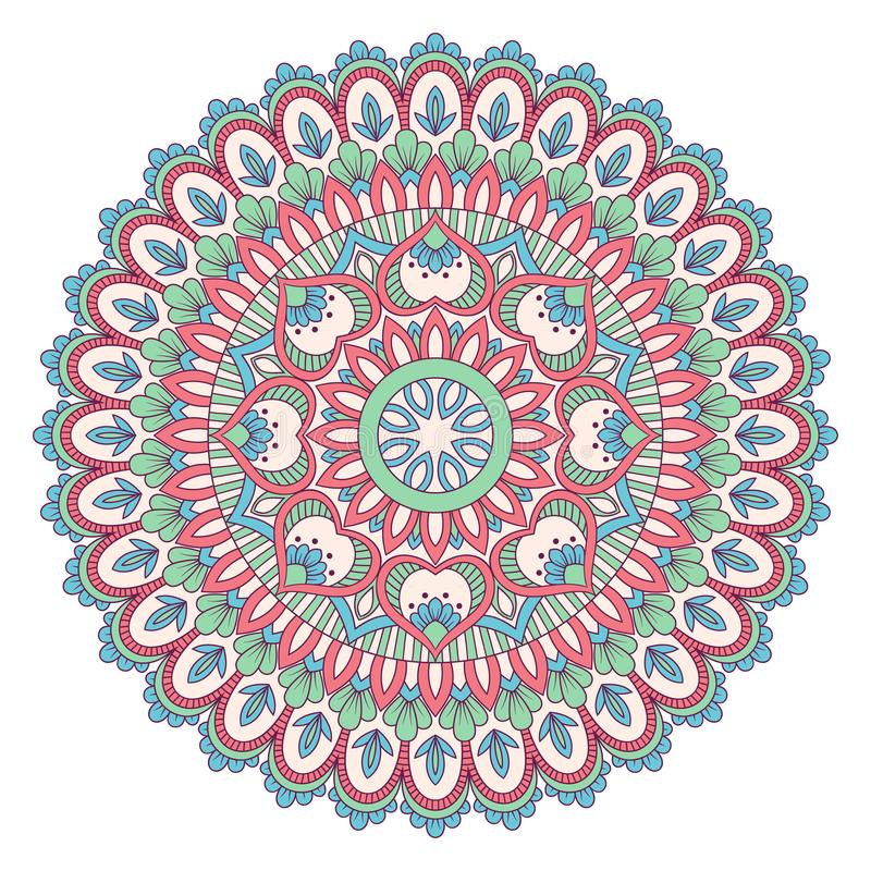 Download Etnisk dekorativ mandala vektor illustrationer. Illustration av henna - 106826541