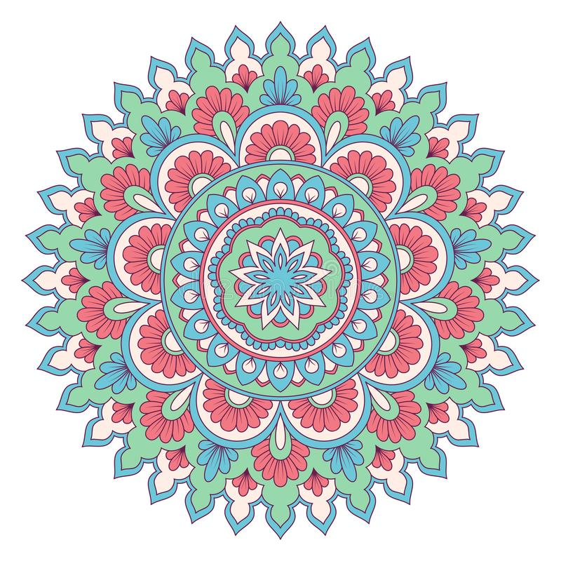 Etnisk dekorativ mandala stock illustrationer