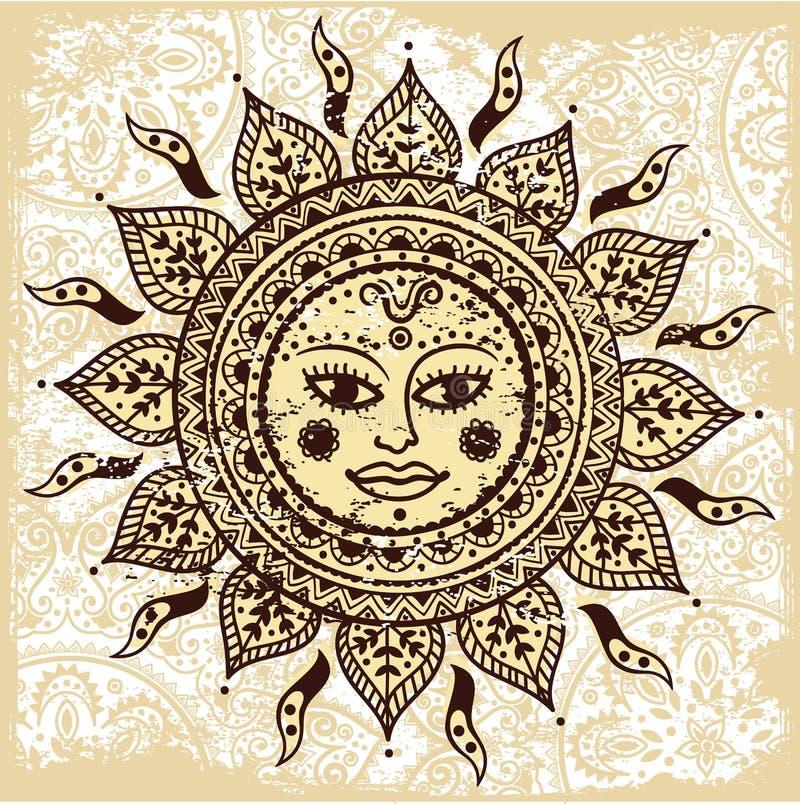 Etnisk dekorativ sun stock illustrationer
