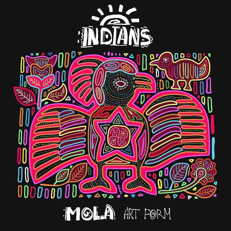 Etnisk designbeståndsdel för vektor indier MOLA Art Form royaltyfri illustrationer