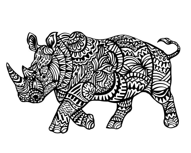 Etnisk djur klotterdetaljmodell - Owl Rhinoceros Zentangle Illustration vektor illustrationer