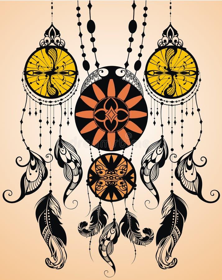Etnisk dreamcather stock illustrationer