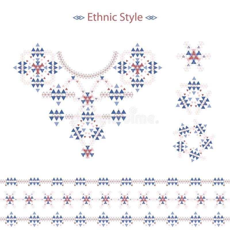 Etnisk färgrik modelluppsättning på vit i vektorformat Plant stam- tryck för vektor royaltyfri illustrationer