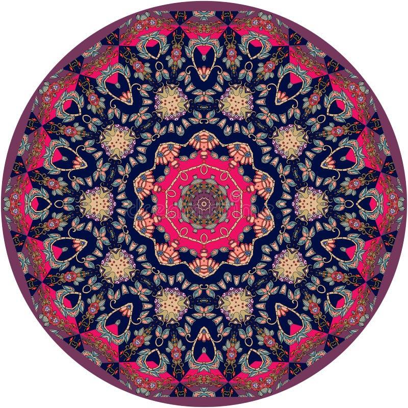 Etnisk filt för cirkel med blomman - mandala dekorativ platta vektor illustrationer