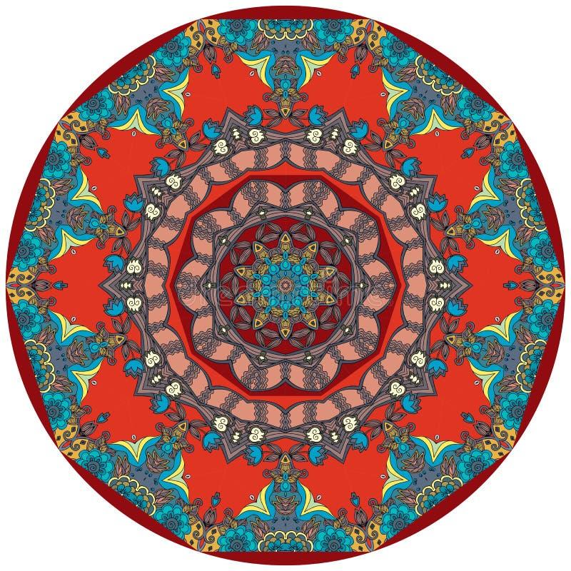 Etnisk filt för cirkel med blomman - mandala Dekorativ uzbekplatta royaltyfri illustrationer