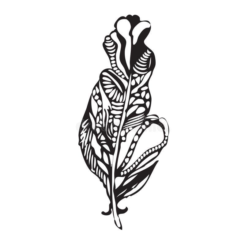 Etnisk fjäder på en vit bakgrund För tappning hand Artistically royaltyfri illustrationer