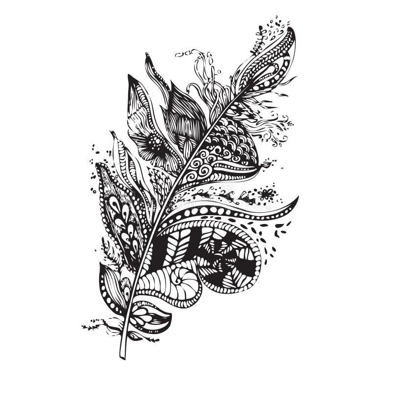 Etnisk fjäder på en vit bakgrund Tappning Artistically royaltyfri illustrationer