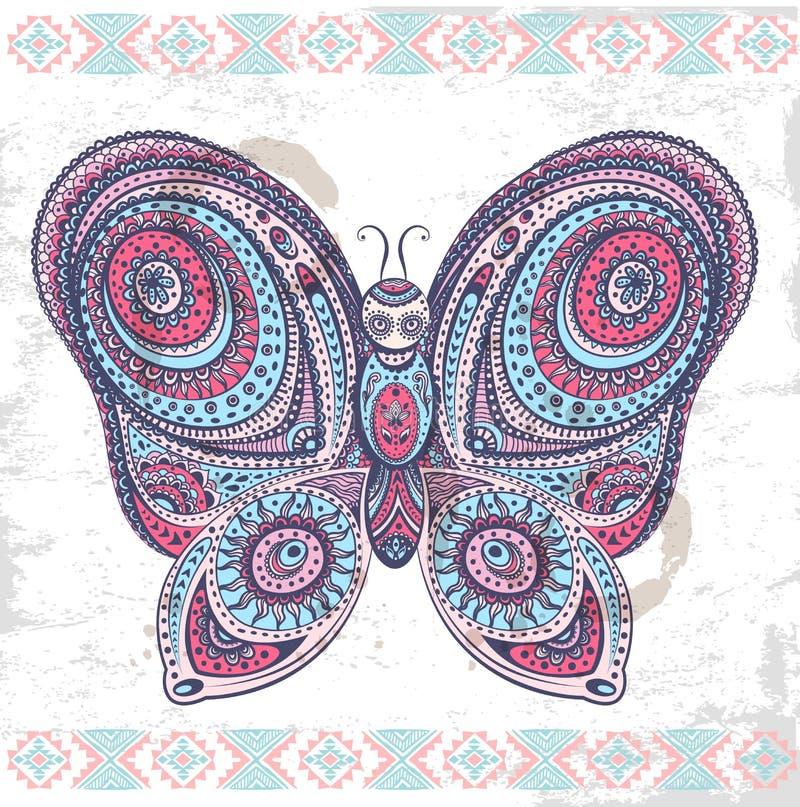 Etnisk fjärilsillustration för tappning stock illustrationer