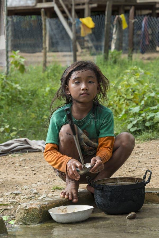 Etnisk flicka, Laos royaltyfri bild