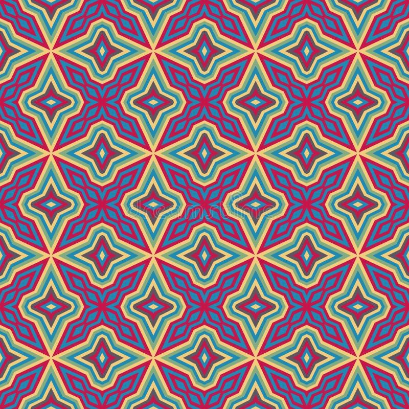 Etnisk geometrisk modell i repetition Tygtryck Sömlös bakgrund, mosaikprydnad, retro stil royaltyfri illustrationer
