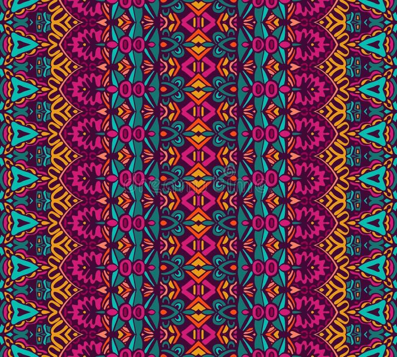Etnisk geometrisk randig sömlös stam- modell vektor illustrationer