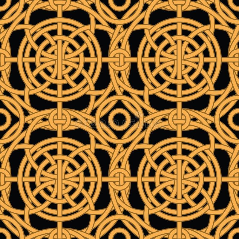 etnisk guld flätad samman seamless vektor för modell royaltyfri illustrationer