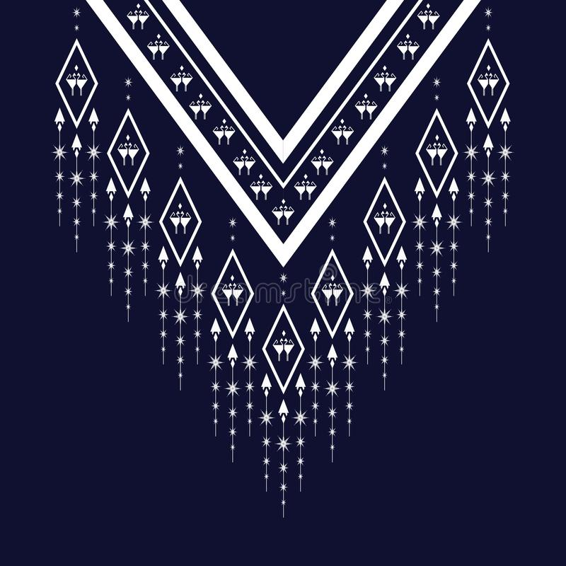 Etnisk halsbroderi för mode och annat bruk in royaltyfri illustrationer