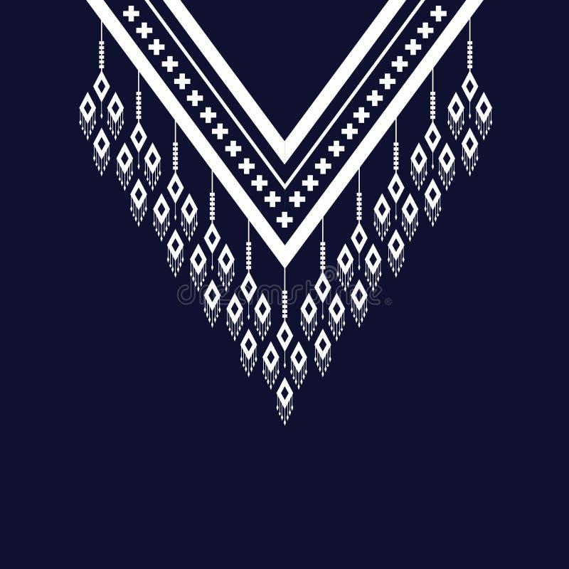 Etnisk halsbroderi för mode och annat bruk in vektor illustrationer