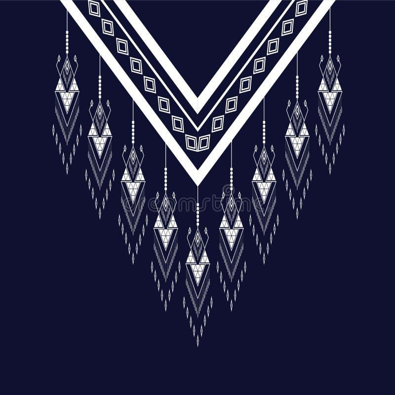 Etnisk halsbroderi för mode och annat bruk in stock illustrationer
