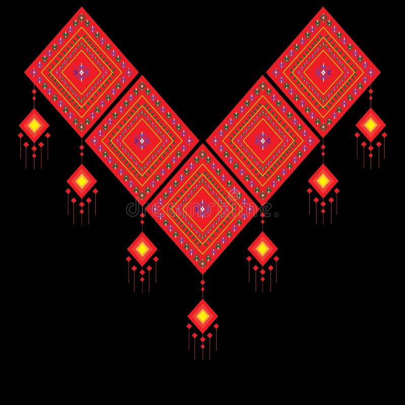 Etnisk halsbroderi för mode och annat bruk i vektor royaltyfri illustrationer