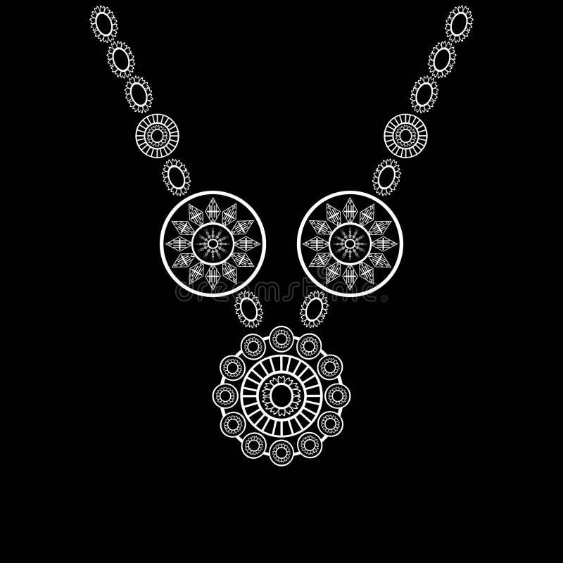 Etnisk halsbroderi för mode och annat bruk i vektor stock illustrationer