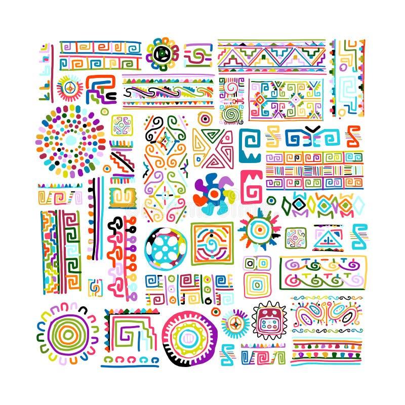 Etnisk handgjord färgrik prydnad för din design royaltyfri illustrationer