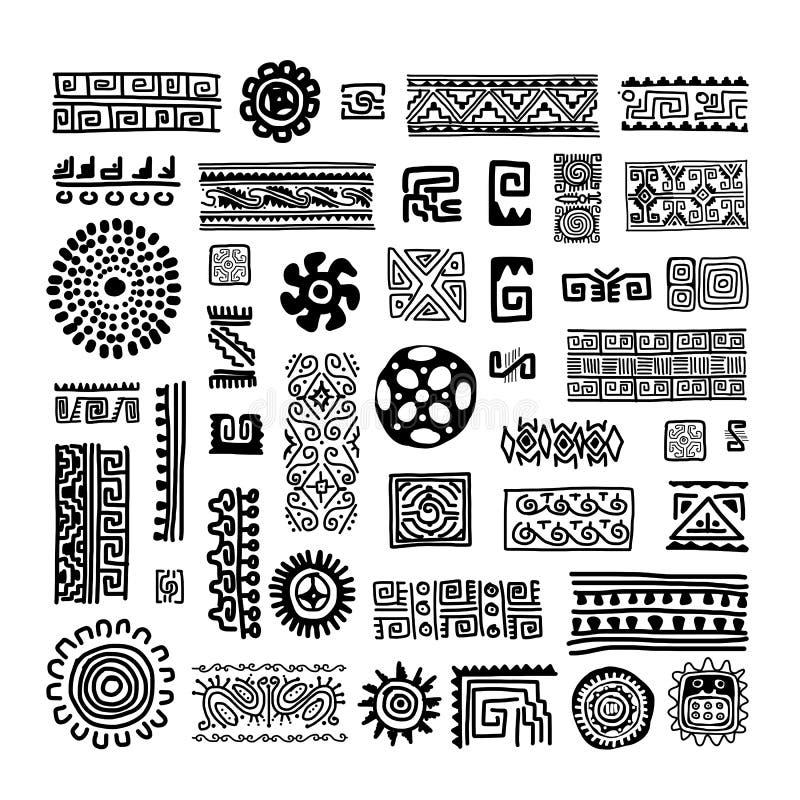 Etnisk handgjord prydnad för din design vektor illustrationer
