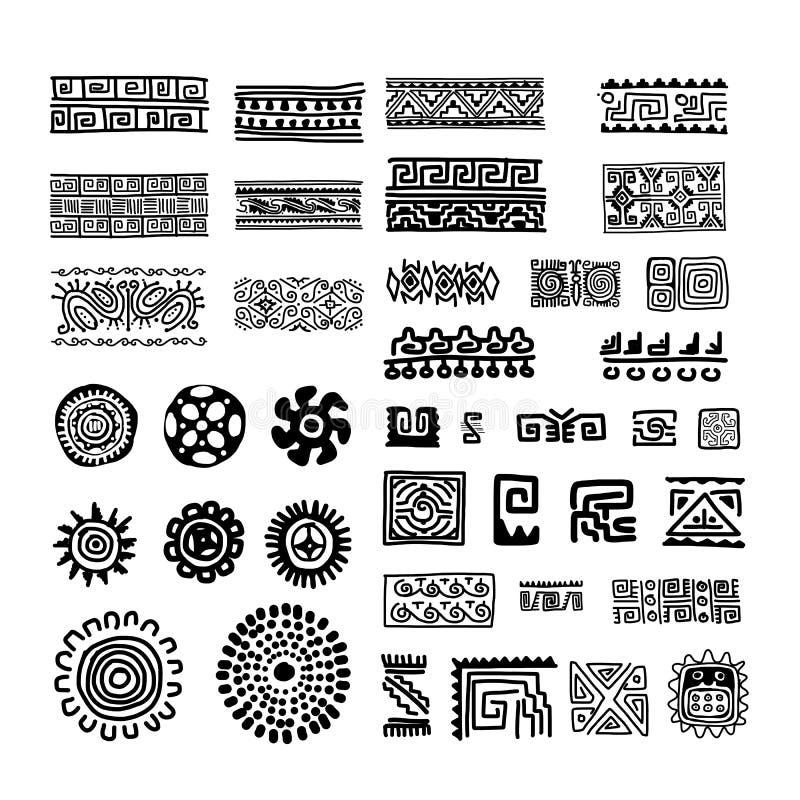 Etnisk handgjord prydnad för din design stock illustrationer
