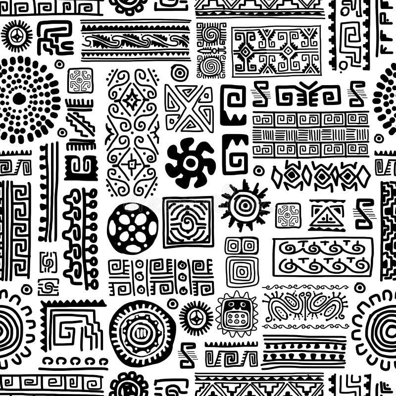 Etnisk handgjord prydnad, sömlös modell för stock illustrationer
