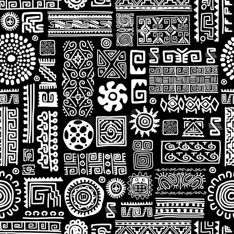 Etnisk handgjord prydnad, sömlös modell för royaltyfri illustrationer