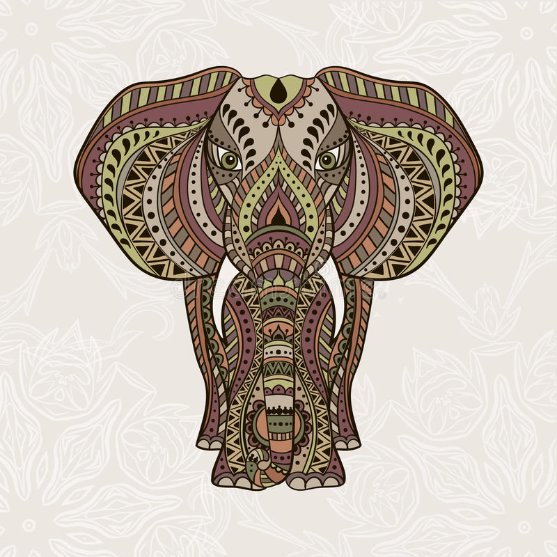 Etnisk indisk elefant för vektor stock illustrationer