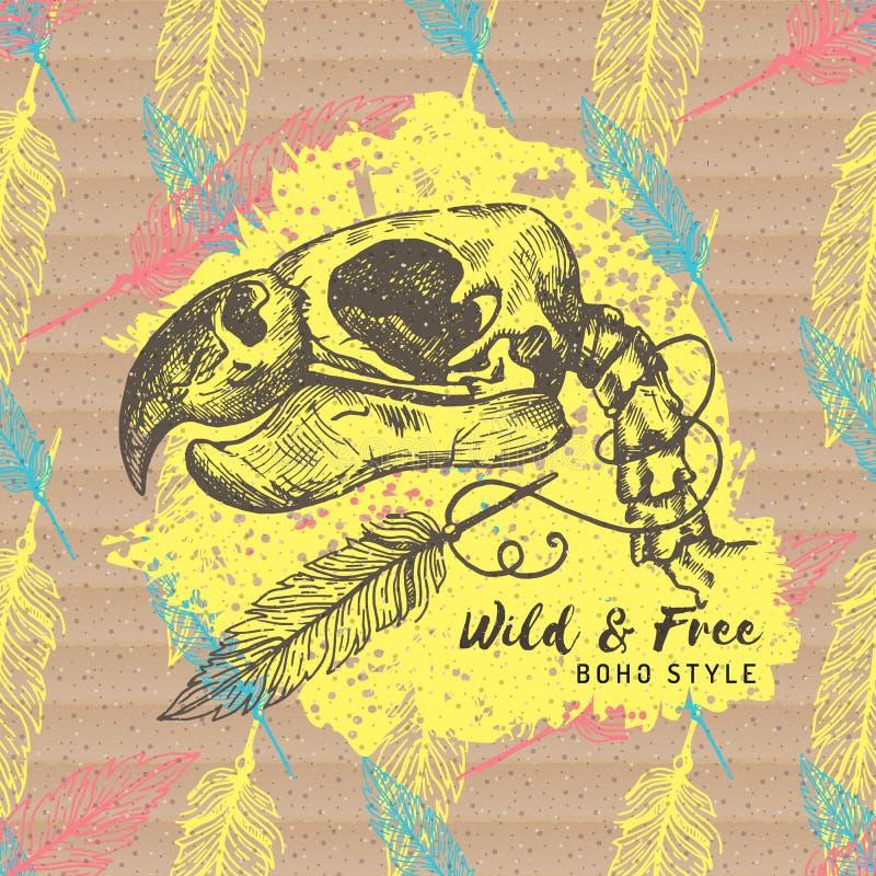 Etnisk kortBoho stil Hand-dragen bakgrund för papp för fågelpapegoja skelett- stock illustrationer