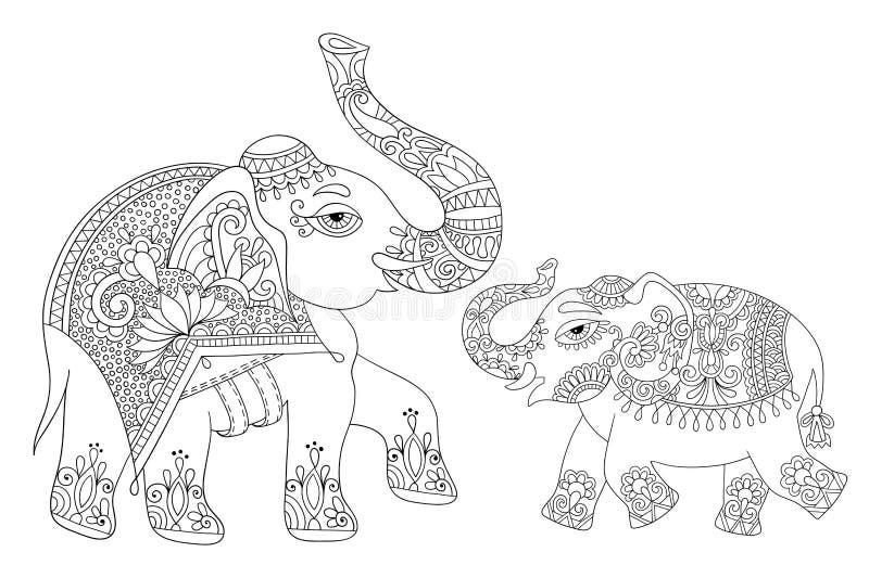 Etnisk linje original- teckning, vuxna människor som för indisk elefant färgar bo royaltyfri illustrationer